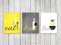Styling Kitchen Wall Art Decor; Modern Kitchen Eat Drink Love Art Prints. Beautiful fresh modern colors: Shades of Grey, Yellow, Black & White. **