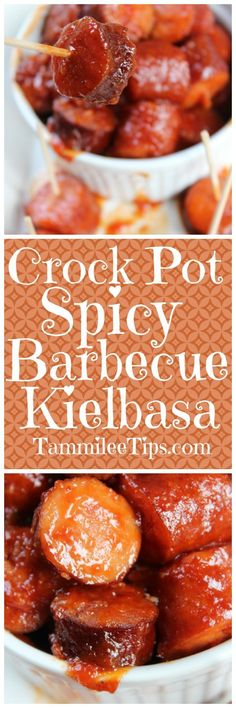 This Crock Pot Spicy Barbecue Kielbasa Recipe is the perfect appetizer recipe for game day parties or family dinners. The slow cooker does all the work! So easy to make only a few ingredients needed! via @tammileetips