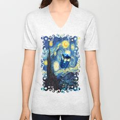 Soaring Blue Phone box starry night oil Unisex Vneck tshirt #Clothing #Tshirt #ShortSleeved #Geekery #Tshirt #tee #geek #cute #etsy #redbubble #tardis #doctorwho #starrynight #vangogh #screamingman #flying #phonebooth