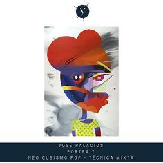"""Obra de @jose_palacios_01 """"Portrait"""" #desnudo #NeoPopCubism #técnica mixta #acrylicportrait #acrylicpainting #Arte Contemporáneo #pinturaacrilica #acrilicos #neocubismopop #artwork  #talento #enventa ipaynt.com"""