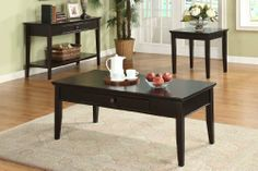 3 Pc Occasional Set (Coffee Table w/Drawer+ 2 End Tables) by Furniture of America. $353.13. Felt lined drawers. Finishes: Dark Cherry Finish. Solid wood construction. Middleton Two End Tables and Coffee Table Set Dimensions:C:48 x 24 x 19 1/2H, E:24 x 22 x 24HSome assembly may be required. Please see product details.