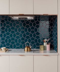 Syren tile with pink grouting in the kitchen. Credit: Topps Tiles #melaniejadedesign #kitchen #kitchenrenovation