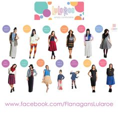 Lots of LuLaRoe styles to choose from! And MORE coming soon!! Come see what I have in right now. www.facebook.com/FlanagansLularoe/photos_albums