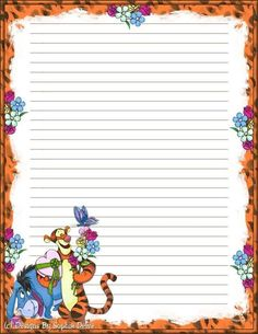 """""""Tell A Story"""": Tigger from """"Winnie the Pooh"""", as courtesy of Disney Printable Lined Paper, Free Printable Stationery, Printable Recipe Cards, Disney Writing, Disney Scrapbook, Stationery Paper, Paper Frames, Writing Paper, Note Paper"""