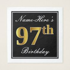 Elegant Faux Gold 97th Birthday  Custom Name Napkin - kitchen gifts diy ideas decor special unique individual customized