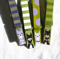 CAT CLOTHESPINS hand painted magnets purple and green by SugarAndPaint on Etsy