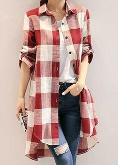 33 Womens Shirts That Will Make You Look Fabulous #plaid  #cardigan  #plaidshirt  #longsleeveplaid