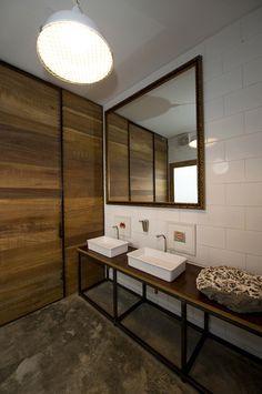 sink bathroom el mercado restaurant restroom cement floor wood exposed. beautiful ideas. Home Design Ideas