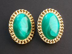 Shop for earrings on Etsy, the place to express your creativity through the buying and selling of handmade and vintage goods. Vintage Earrings, Clip On Earrings, Gold Earrings, Vintage Jewelry, Unique Jewelry, Emerald Green, Green And Gold, Costume Jewelry, Gemstone Rings
