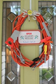 Extension cord wreath I made. For tool themed party. front door decoration for Mr. Fix It birthday party 60th Birthday Party, Birthday Party Decorations, Party Themes, Party Ideas, Tool Birthday Parties, Couples Shower Decorations, 60th Birthday Ideas For Dad, Couples Shower Themes, Birthday Signs