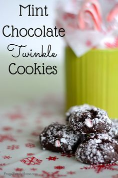 Need a new Christmas cookie to make. This recipe for mint chocolate twinkle cookies is easy to make and so delicious. Give your mom or friends a yummy Christmas gift of cookies this year.