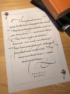Cursive writing, Italic handwriting, Penguin Books, 'Some books have changed the world'. Chris Jordan, Lettering Ideas, Penguin Books, Cover Pics, Cursive, Change The World, Monograms, Handwriting, Quotations