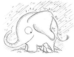 Elephants make great friends. Elephant Doodle, Cute Elephant, Bugs Drawing, Drawing Stuff, Drawing Board, You Doodle, Doodle Art, Doodle Drawings, Easy Drawings