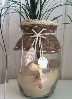 Seashell Beach Decor Vase by ZikisInspirations Seashell Art, Seashell Crafts, Beach Crafts, Seashell Wind Chimes, Beach Themed Crafts, Summer Deco, Jar Crafts, Bottle Crafts, Deco Marine