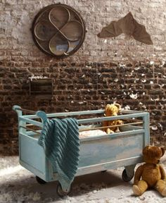 wooden rolling crib, vintage style