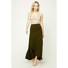 Forever21 Contemporary Maxi Skirt ($16) ❤ liked on Polyvore featuring skirts, olive, long skirts, floor length white skirt, full length skirts, maxi skirts and army green maxi skirt