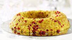 Πιλάφι με σαφράν, τηγανητό φιδέ και ρόδι Bagel, Macaroni And Cheese, Rice, Bread, Cooking, Healthy, Ethnic Recipes, Desserts, Foods