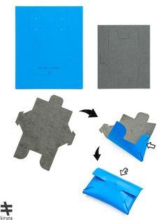就像摺紙一樣有趣!Kiruna教你DIY皮革配件 | EVERYDAY OBJECT Leather Art, Leather Gifts, Leather Design, Leather Wallet Pattern, Pouch Pattern, Simple Wallet, Origami Bag, Leather Scraps, 3d Cnc