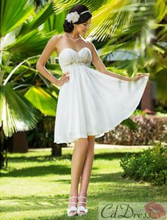 A-line Sweetheart Knee-length Chiffon Wedding Dress - Short Wedding Dress - Wedding Dresses - CDdress.com