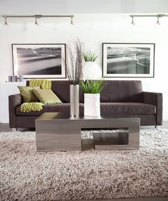 Apartment living room with dark brown sofa, cream shag area rug, modern steel coffee table. With accents of green throw pillows, green blanket and tall vases.
