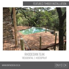 Rhodesian Teak has an excellent wear resistance and is very durable, making it a perfect option for decking and flooring with high traffic. Find out more about Rhodesian Teak decking. Timber Deck, Decking, Teak, Flooring, Outdoor Decor, Home Decor, Decoration Home, Room Decor, Wood Flooring