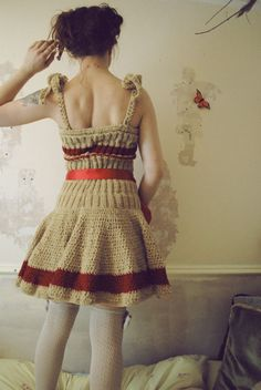 Hand Knitted Dress in Red and Gold Stripe by Flutterbydaisy