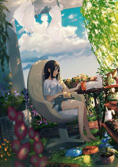"""Reading early afternoon of"" / ""A Tiki"" of illustrations [pixiv]"