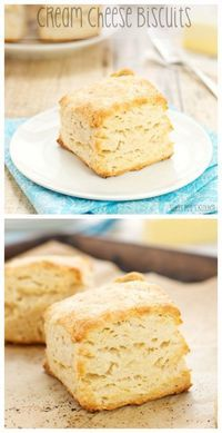 """""""Cream Cheese Biscuits…melt in your mouth deliciousness!"""" Cream Cheese Biscuits Recipe via Sweet Pea's Kitchen - The Best Homemade Biscuits Recipes - Quick, Easy and Delicious Bread Sides for Breakfast, Brunch, Lunch and Family Dinner!"""