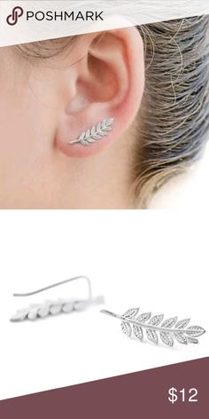 Dainty Silver Leaf Ear Climber Earrings These delicate ear climber earrings, are modeled after the olive leaf. Symbolizing Peace and Prosperity. *Measures: 22mm L (just under 1 inch Long) Jewelry Earrings