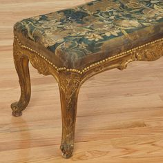 Louis XV style giltwood and Flemish tapestry bench