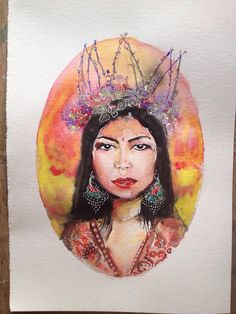 Sale // Watercolor painting // Boho Queen Flowercrown Wedding