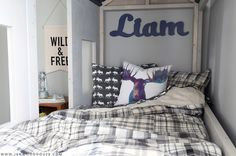 How to build a do-it-yourself RH Baby & Child-inspired cabin bed - plans by Ana White and tutorial by Jen Woodhouse. Diy Cabin Bed, Diy Bed, Cabin Beds, White Cabin, Bunk Bed Plans, Bunk Beds, Trundle Mattress, Diy Home Decor Bedroom, Kids Bedroom