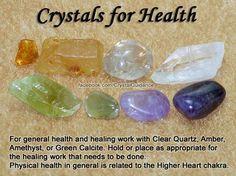 Crystals for Health - Clear Quartz, Amber, Amethyst, Green Calcite.