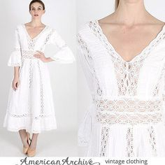vtg 70s Wht Mexican Wedding Dress Sheer Crochet Lace Boho Ethnic Festival Maxi