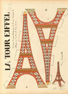 """The Trip Eiffel is really a sign of Paris. It is the most recognizable function of the city and, in reality, the world. Located in the arrondissement, the Eiffel Tower was a marvel of """"modern"""" engineering. Paris Party, Paris Theme, Vintage Images, Vintage Posters, French Vintage, French Posters, Vintage Clocks, Vintage Style, Paper Toys"""
