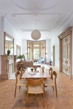 cork tile floors, beautiful ceiling details, understated furnishings