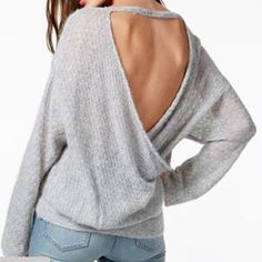 NWT Free People Sz L Draped Open Back New with tags, retail $128. Boat neckline, pullover style. Heather gray.  Hits below hip. Free People Sweaters