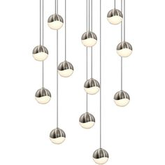 Sonneman Grapes LED 12-Light Round Canopy Pendant ($2,125) ❤ liked on Polyvore featuring home, lighting, ceiling lights, decor, furniture, home decor, fillers, silver, grape lights and sonneman lamp