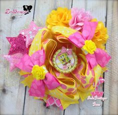 """""""Spongebob"""" OTT Hair Bow  Dollhouse Market An Auction Style Event Opens 4/28/15 at 5 PM CST Closes at 4/30/15 at 9 PM CST Purchase Here: www.facebook.com/dollhousedesigngroup"""