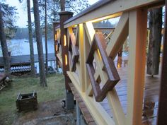 Lights on the terrace in the spring Wooden Lamp, Fences, Terrace, Patio, Lights, Spring, Outdoor, Design, Picket Fences