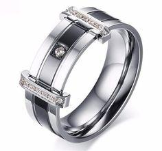Tungsten Carbide Men's Ring Featuring CZ Stones