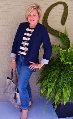 love fitted blazer with jeans. (striped shirt not good for me. solid is better.)