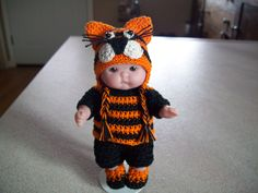 "Berenguer 5"" Baby Dolls - Tiger hat outfit # 127   More can be seen under Pinterest under Jana Langley Berenguer 5"" Dolls with crocheted outfits."