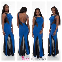 """Royal Blue Black Mesh Insert Long Maxi Dress This sassy slim long dress features a rounded neckline with mermaid shape. Contrast sheer mesh cutout detailing on the shoulders, sides and hem. Low open back design.  1Shell: 100% Rayon 2Shell 100% Polyester. Model Is 5'7"""", Wearing A Size Small. Size Small Length Approx 58"""" Dresses Maxi"""