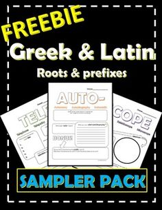 ownload these 8 FREE worksheets to introduce Greek and Latin Roots and Prefixes to middle school students.
