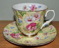 England Fine Bone CHINA Yellow Morning Glory CHINTZ FLORAL CUP & SAUCER MAYFAIR