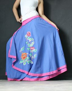New Circle Maxi Skirt Cotton Hippie Blue Long Skirt by myuniverse, $39.90