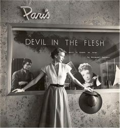 "Untitled (fashion model in front of ""Devil in the Flesh"" poster) 1950. George Platt Lynes. Gelatin silver print"