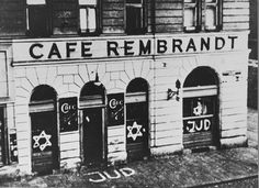 Cafe Rembrandt in Vienna. Fassade of cafe Rembrandt and walking path are filled with antisemitic writings. [Antisemitismus: Cafe Rembrandt in Wien. Get premium, high resolution news photos at Getty Images Nazi Propaganda, Graffiti, Holocaust Memorial, The Third Reich, Lest We Forget, Rembrandt, Persecution, Interesting History, World History
