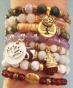 Handmade yoga bracelets handmade-beaded-gemstone-jewelry.com  #handmade #yoga #jewelry